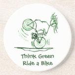 Think Green Ride a Bike Drink Coaster