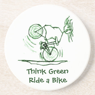 Think Green Ride a Bike Drink Coaster