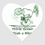 Think Green Ride a Bike Heart Sticker