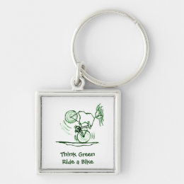 Think Green Ride a Bike Keychain