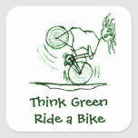 Think Green Ride a Bike Square Sticker
