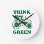 Think Green Round Clocks