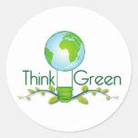 think_green round stickers