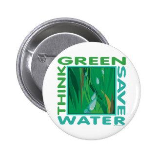 Think Green, Save Water 2 Inch Round Button