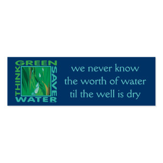 Think Green, Save Water Double-Sided Mini Business Cards (Pack Of 20)