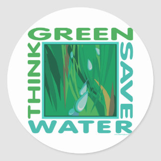 Think Green, Save Water Classic Round Sticker