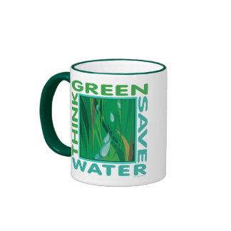 Think Green, Save Water Ringer Mug