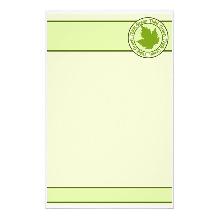 THINK GREEN stationary, customizable Stationery