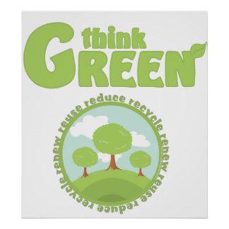 Think Green Trees Poster