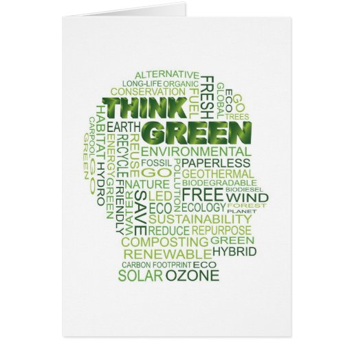 Think Green Words in Human Head Outline Card