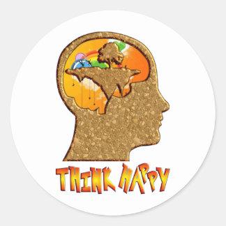 Think Happy Classic Round Sticker