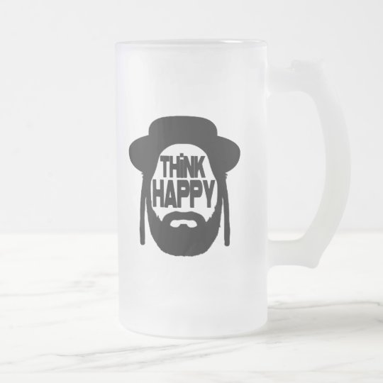 Think Happy Frosted Glass Beer Mug