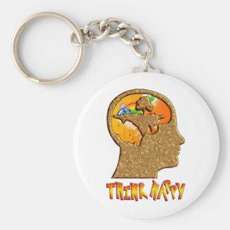Think Happy Basic Round Button Keychain