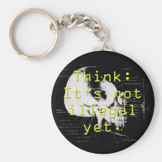 think illegal basic round button keychain