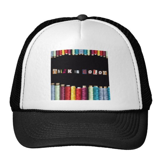 think in color trucker hat