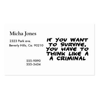 Think Like A Criminal Business Card
