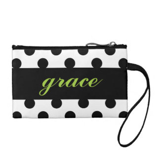 Think Lime Reversed & Black Polka Dot Clutch Coin Wallet