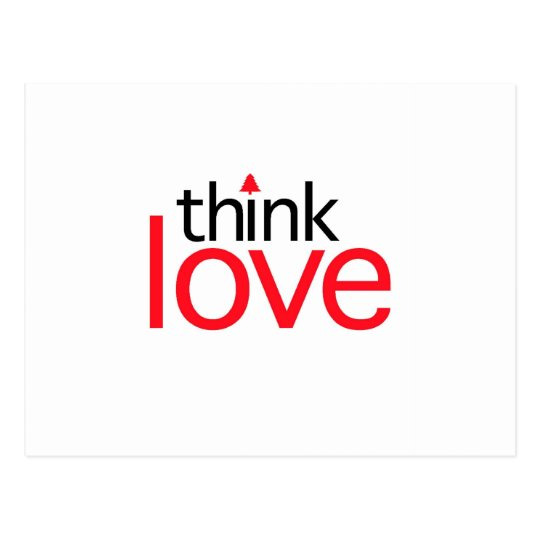 Think Love (Christmas Red) Postcard