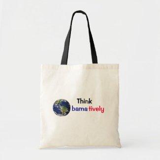 Think Obamatively_world, black, blue, red bag