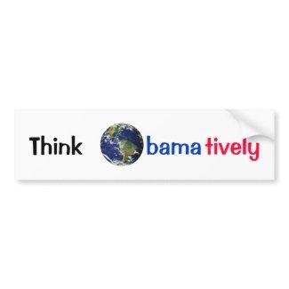 Think Obamatively_world, black, blue, red bumpersticker
