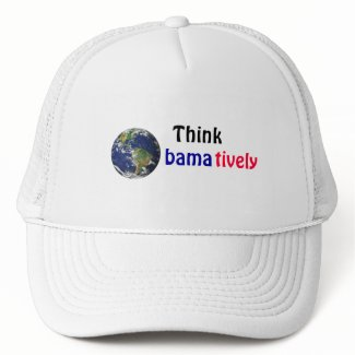 Think Obamatively_world, black, blue, red hat