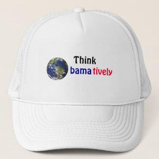 Think Obamatively_world, black, blue, red Trucker Hat