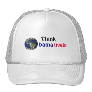 Think Obamatively_world, black, blue, red Trucker Hat