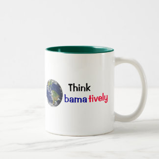 Think Obamatively_world, black, blue, red Two-Tone Coffee Mug