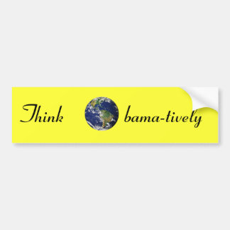 Think Obamatively_world, black on yellow Bumper Sticker