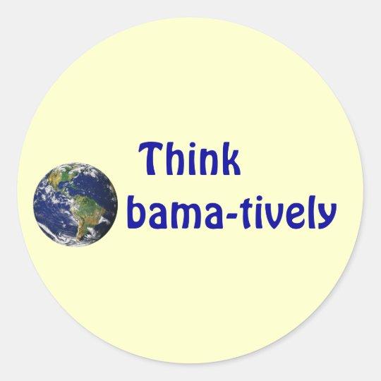 Think Obamatively_world, blue on yellow Classic Round Sticker