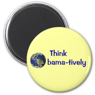 Think Obamatively_world, blue on yellow Magnet