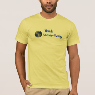 Think Obamatively_world, blue on yellow T-Shirt