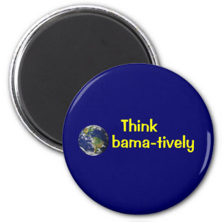 Think Obamatively_world, yellow on blue Magnet