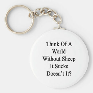 Think Of A World Without Sheep It Sucks Doesn't It Key Chain
