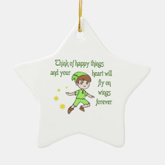 THINK OF HAPPY THINGS CERAMIC ORNAMENT
