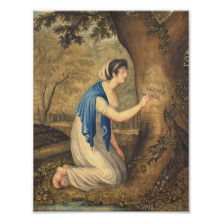 Think of Me Romantic Painting of Woman in Forest Print