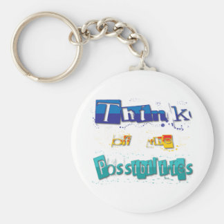think of the possibilities basic round button keychain