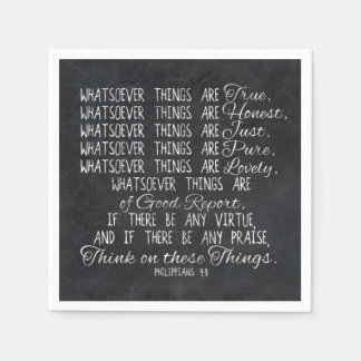 Think on These Things Christian Bible Scripture Paper Napkin
