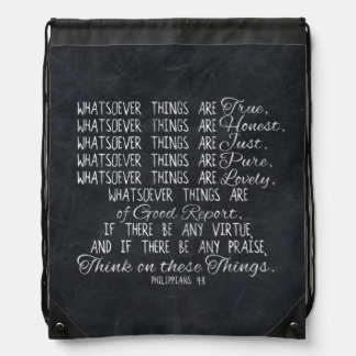 Think on These Things Christian Bible Scripture Drawstring Backpack
