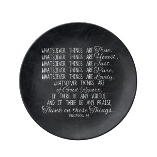 Think on These Things Christian Bible Scripture Porcelain Plate