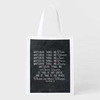 Think on These Things Christian Bible Scripture Reusable Grocery Bag