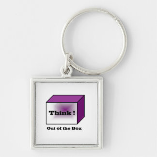 Think out of the Box Silver-Colored Square Keychain