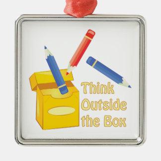 Think Outside Box Metal Ornament