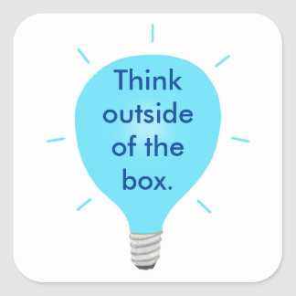 Think Outside of the Box Blue Light Bulb Stickers