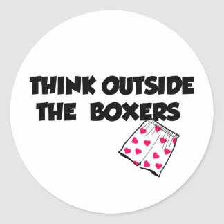 think outside of the boxers classic round sticker
