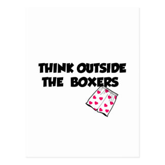 think outside of the boxers postcard