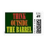 Think Outside The Barrel Postage Stamp