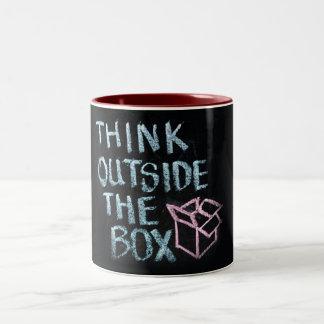 THINK OUTSIDE THE BOX - AWESOME SLOGAN MUG