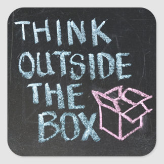 THINK OUTSIDE THE BOX AWESOME SLOGAN STICKERS