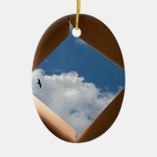 Think Outside The Box Cardboard Concept.jpg Ceramic Ornament